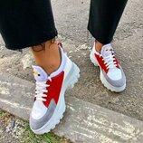 Вт556158 Модные белые кроссовки женские с вставками кожи и замши