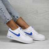 Кроссовки женские Nike Air Force белые с синим