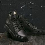 Зимние женские ботинки Puma, натуральная кожа черные