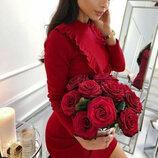 Женское элегантное закрытое платье Scarlett приталенного кроя с рюшами арт.803 скл.10