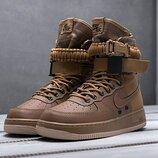 Как оригинал. Бесплатная доставка. Кроссовки Nike SF Air Force 1 коричневые высокие KS 1211