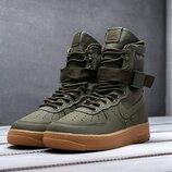 Как оригинал. Бесплатная доставка. Кроссовки Nike SF Air Force 1 зеленые хаки высокие KS 1210