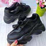 Женские кроссовки на платформе черные р-р 36,40