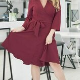 Женское платье с запахом костюмная ткань большие размеры скл1 арт. 58633