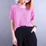 Розовый свитер с коротким рукавом, розовый пуловер, свитер футболка, вязаный свитер