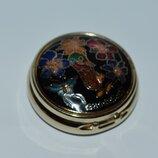 шикарная мини шкатулка таблетница металл эмали позолота singapore винтаж