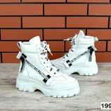 код 1991 Зимние ботиночки Натуральная кожа цвет - Белый внутри натуральный мех набивная шерсть вы