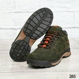 Ботинки мужские, натуральный нубук, зимние, зеленые