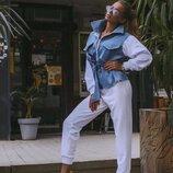 Женский стильный костюм джинс