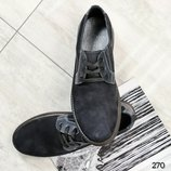 Код 270 Туфли мужские Натуральная нубук/кожа Кожаная внутренняя часть Высота подошвы 2.5/2 см Размер