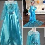 Платье Эльзы шикарное, шлейф,голубое Frozen. На 3,4,5,6,7,8,9 лет