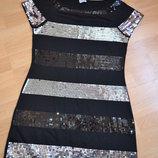 Платье черное с паетками р 44