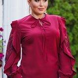 Блузка нарядная XL Турция гипюр софт с рукавами фонарик бордо белый черный