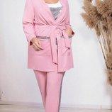 Женский брючный костюм тройка с лампасами большого размера хит сезона дайвинг скл.1 арт.58682