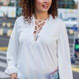 Женская легкая блуза с шнуровкой размеры батал ткань супер-софт скл.1 арт.58705