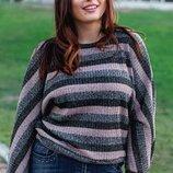 Женский турецкий свитер летучая мышь в полоску с люрексом скл.1 арт.58703