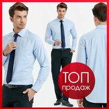 Мужская рубашка голубая lc waikiki / лс вайкики в мелкую елочку с карманом на груди
