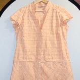 Красивая персиковая женская блуза bonmarshe в клетку с вышивкой с цветами