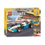 Конструктор Bela 11043 Аналог Lego Creator Гоночный болид 3 в 1, 109 деталей, гоночная машина