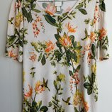 Цветочная футболка блуза топ цветочный принт птиц от h&m