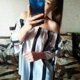 Шикарная блузка в полоску с открытыми плечами