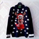 Размер L Шикарный фирменный мужской новогодний свитер
