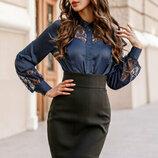 Блуза с длинным рукавом в расцветках
