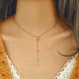 Ожерелье подвеска колье цепочка кулон 2 звезды минимализм золотистая