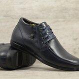Мужские кожаные ботинки 527 син