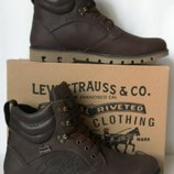 Качественные в стиле Levis Зимние мужские ботинки смотрятся дорого коричневого цвета кожа Супер