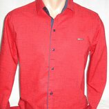 Рубашка мужская Paul Jack красная в чёрточки M,L,XL,3XL