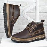 Ботинки кожаные Montana serious brown мужские зимние Монтана натуральный мех прошитые