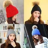 8 плотная яркая очень красивая вязаная шапка с помпоном