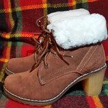 Зимние ботинки, натуральная замша