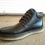 Мужские кожаные зимние ботинки на шнурке 40-45 размеры