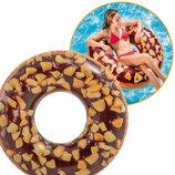 Надувной Круг 114см Пончик Шоколад с орехами Intex 56262