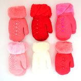 Детские шерстяные варежки на меху для девочек - длина 16 см