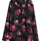 Вискозная рубашка блузка прямого кроя цветочный принт от h&m