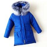 Зимняя куртка для девочки триумф , электрик 128-152 см