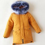 Зимняя куртка для девочки триумф , горчица 128-152 см