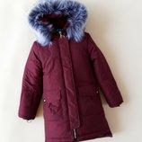 Зимняя куртка для девочки триумф , марсала 128-152 см