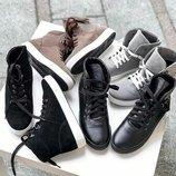 Высокое качество Натуральные кожаные женские деми ботинки кеды