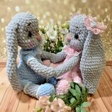 Вязаная игрушка плюшевый зайчик зая заяц игрушка метрика для новорожденного подарок