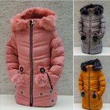 Крутезні зимові курти пальто для дівчинки Сніжинка