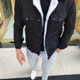 2 цвета. Топ качество. Шерпа. Стильные мужские джинсовки с мехом / джинсовый пиджак C 25-26