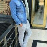 Варианты. Топ качество. Шерпа. Стильные мужские джинсовки с мехом / джинсовый пиджак C 25-26