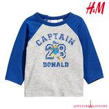 H&M майка с длинным рукавом 6-9 м./74 см. лонгслив рубашка сорочка маечка футболка
