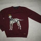 4-5 лет, крутецкий бордовый хлопковый свитер от M&S