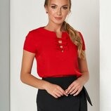 Обворожительная блуза с коротким рукавом и милыми бантами 44-50р