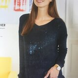 Женский свитер тонкий синий полувер джемпер
